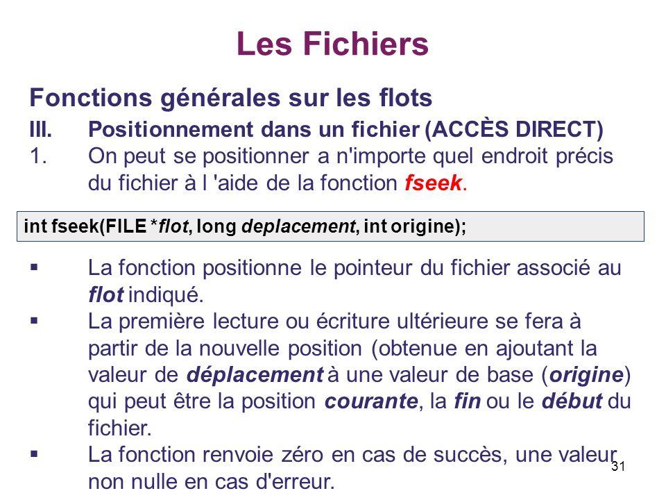 Les Fichiers Fonctions générales sur les flots