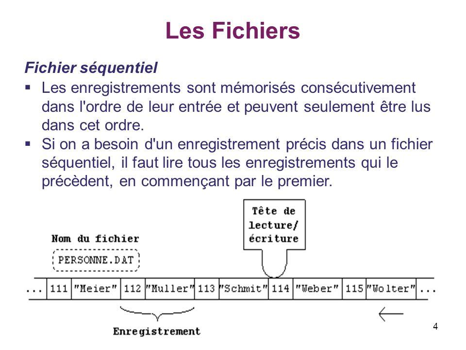 Les Fichiers Fichier séquentiel