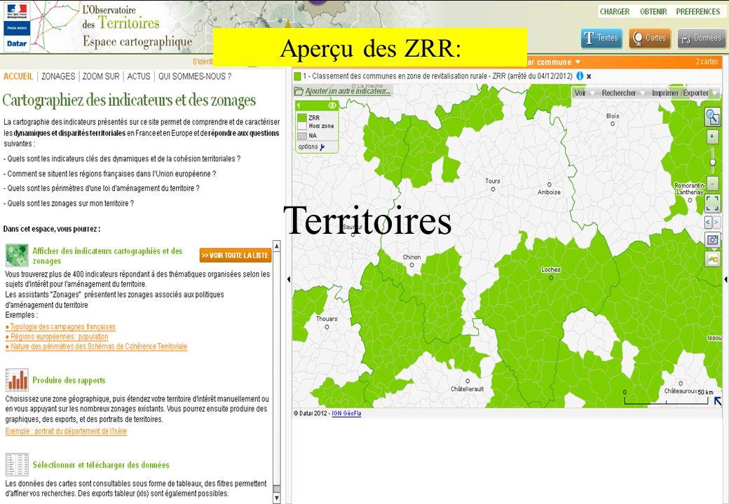 Aperçu des ZRR: Territoires