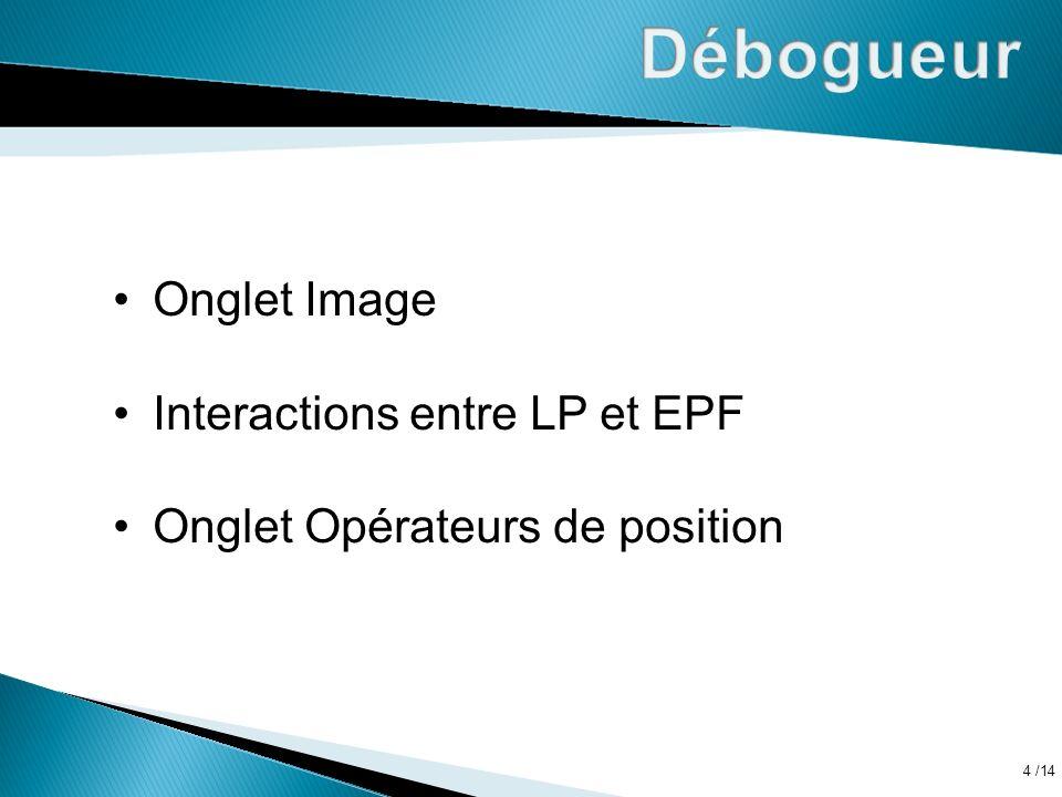 Débogueur Onglet Image Interactions entre LP et EPF