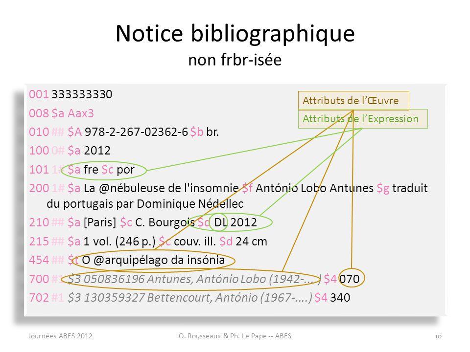 Notice bibliographique non frbr-isée
