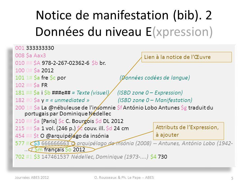 Notice de manifestation (bib). 2 Données du niveau E(xpression)