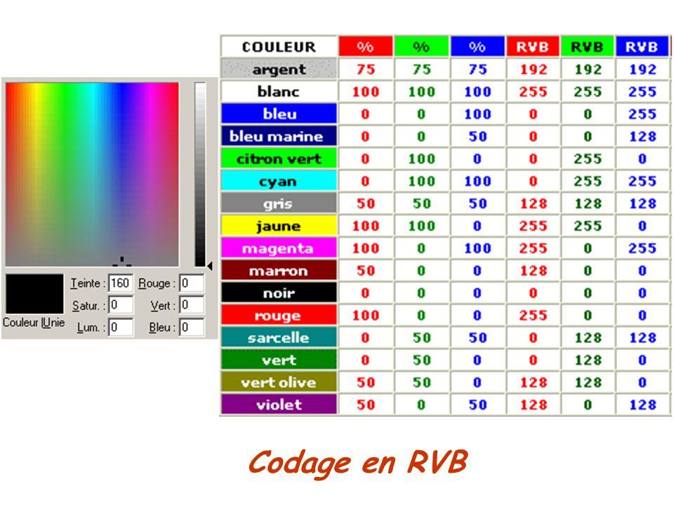 Choix couleur sur ordi : soit on déplace souris dans palette / soit on tape le code souhaité en bas de la palette.