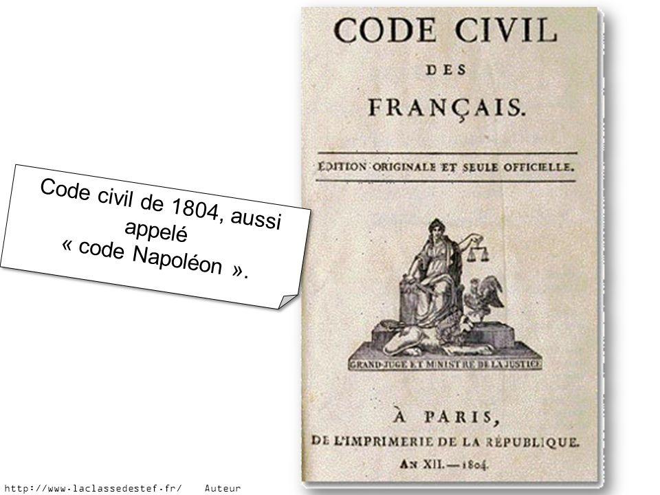 Code civil de 1804, aussi appelé