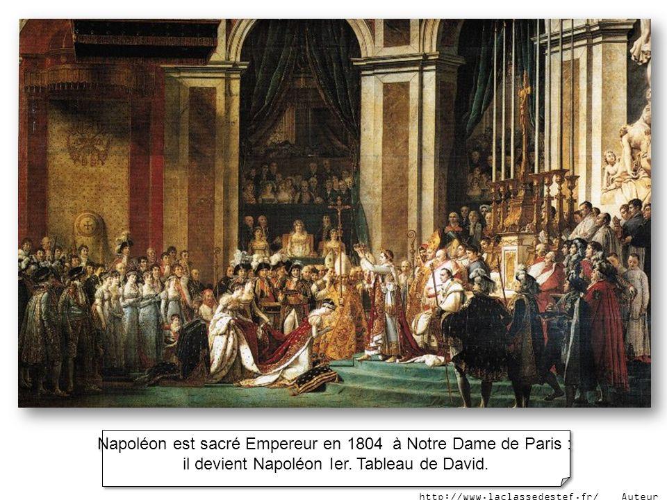 Napoléon est sacré Empereur en 1804 à Notre Dame de Paris :