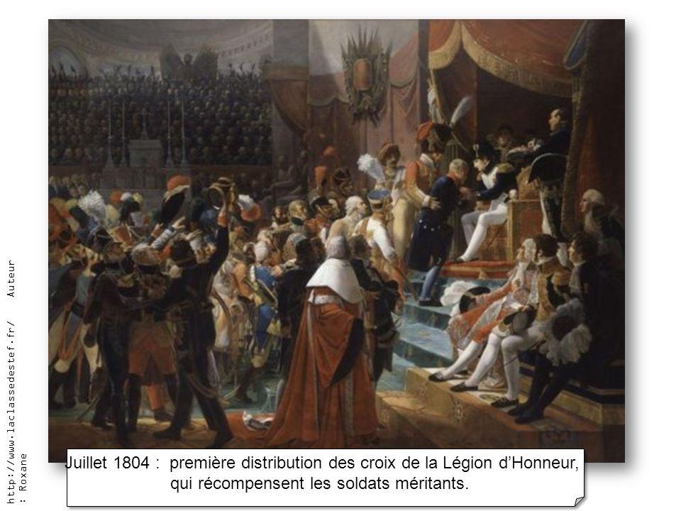 Juillet 1804 : première distribution des croix de la Légion d'Honneur,