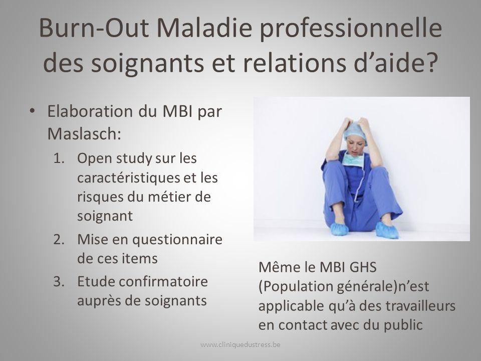 Burn-Out Maladie professionnelle des soignants et relations d'aide