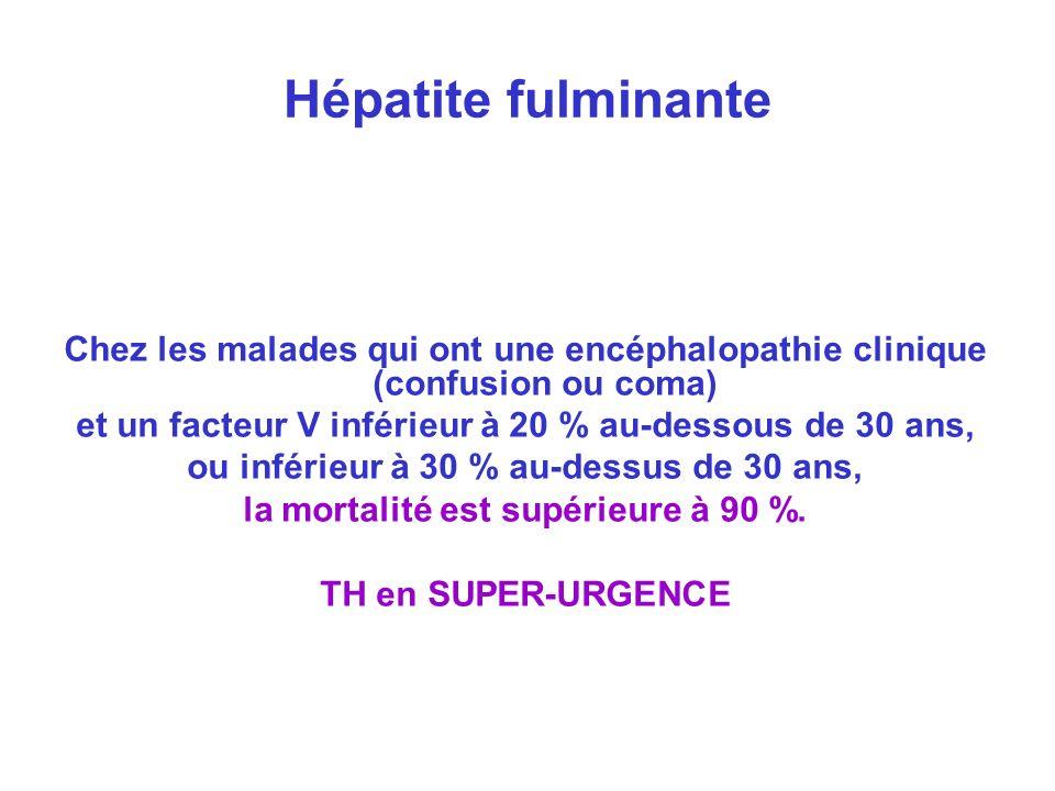 Hépatite fulminante Chez les malades qui ont une encéphalopathie clinique (confusion ou coma) et un facteur V inférieur à 20 % au-dessous de 30 ans,