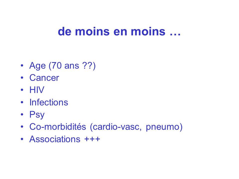 de moins en moins … Age (70 ans ) Cancer HIV Infections Psy
