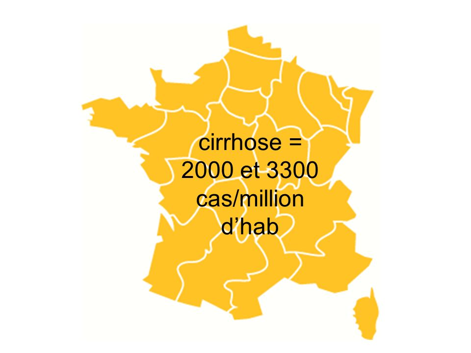 cirrhose = 2000 et 3300 cas/million d'hab
