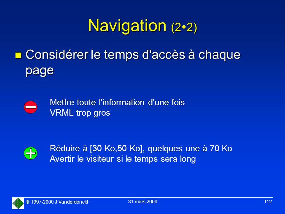 Navigation (22) Considérer le temps d accès à chaque page