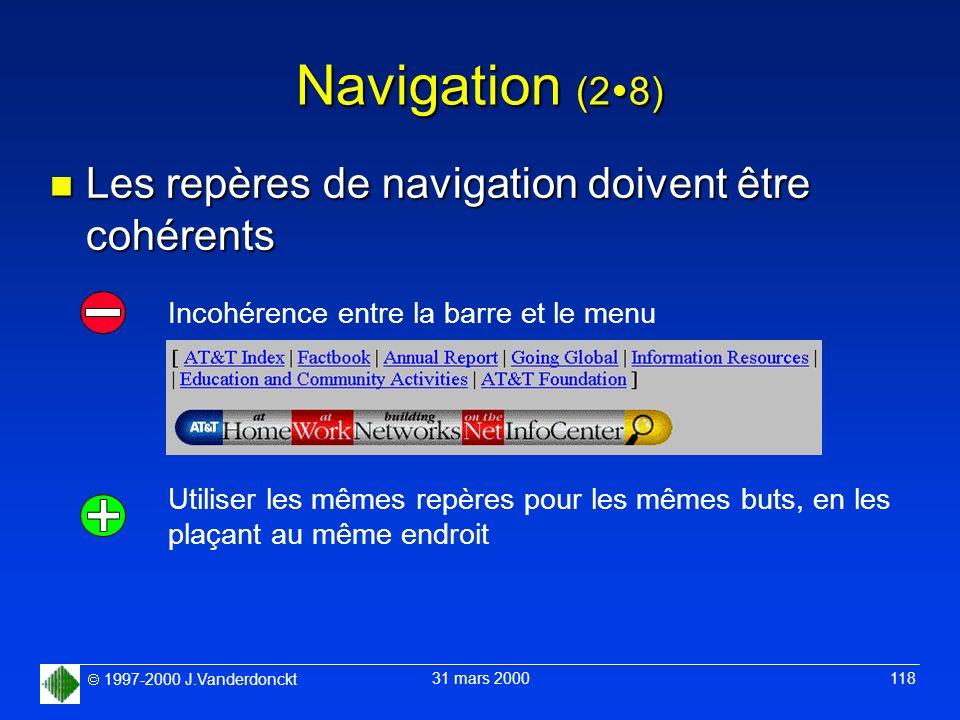 Navigation (28) Les repères de navigation doivent être cohérents