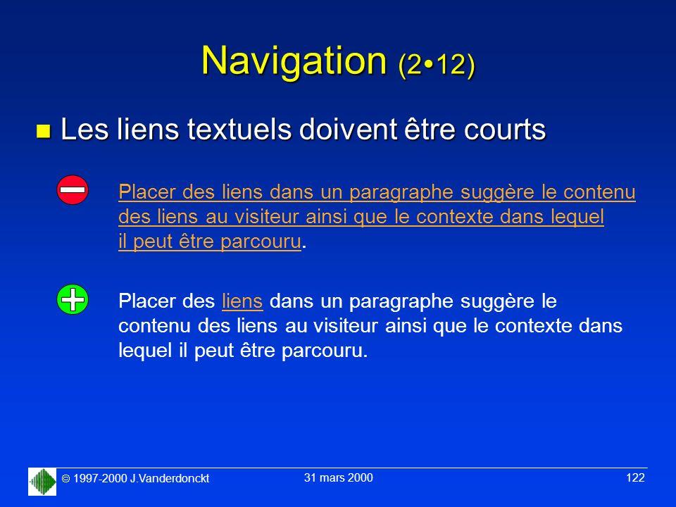 Navigation (212) Les liens textuels doivent être courts