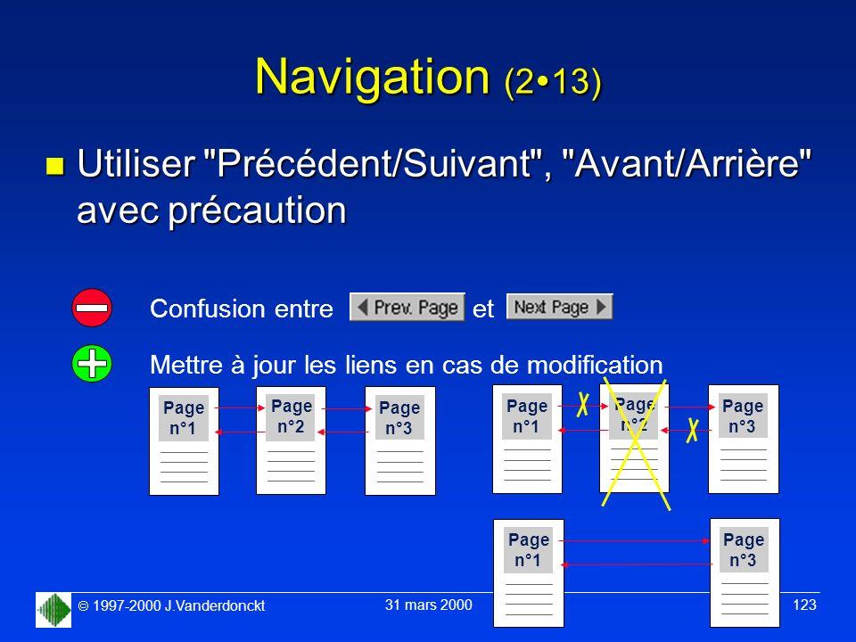 Navigation (213) Utiliser Précédent/Suivant , Avant/Arrière avec précaution. Confusion entre et.
