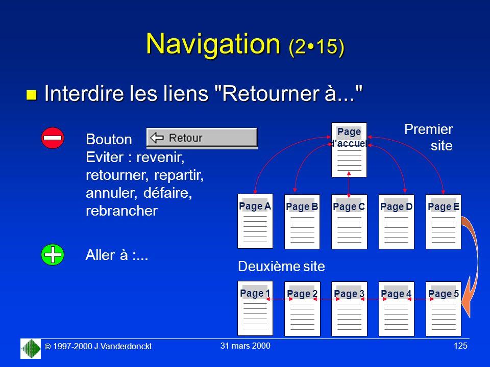 Navigation (215) Interdire les liens Retourner à... Bouton