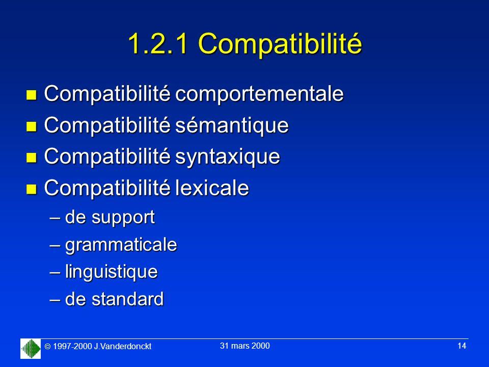 1.2.1 Compatibilité Compatibilité comportementale