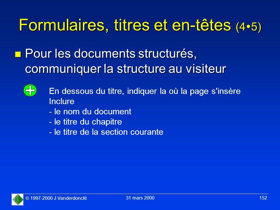 Formulaires, titres et en-têtes (45)