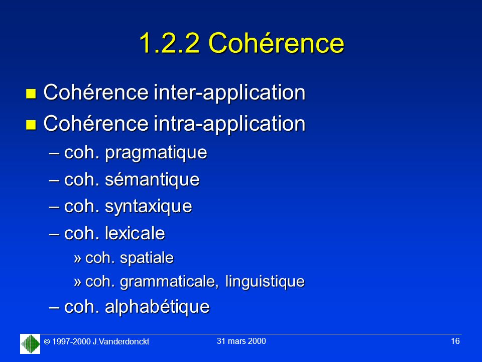 1.2.2 Cohérence Cohérence inter-application