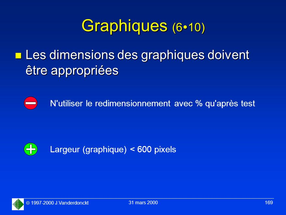 Graphiques (610) Les dimensions des graphiques doivent être appropriées. N utiliser le redimensionnement avec % qu après test.