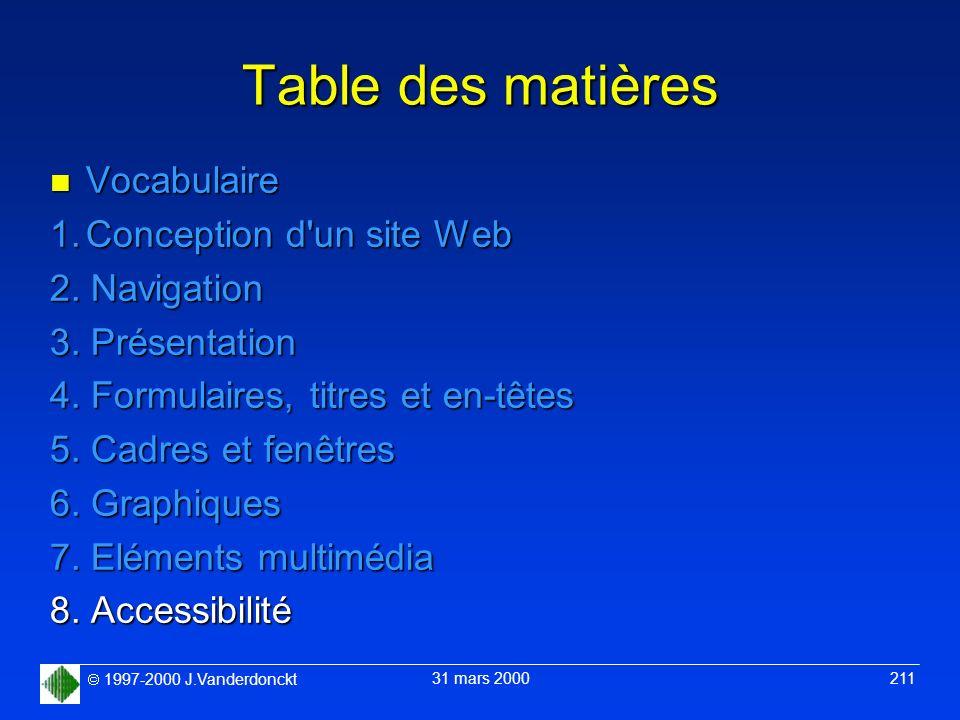Table des matières Vocabulaire 1. Conception d un site Web