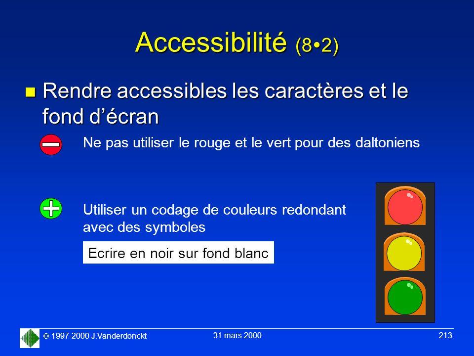 Accessibilité (82) Rendre accessibles les caractères et le fond d'écran. Ne pas utiliser le rouge et le vert pour des daltoniens.