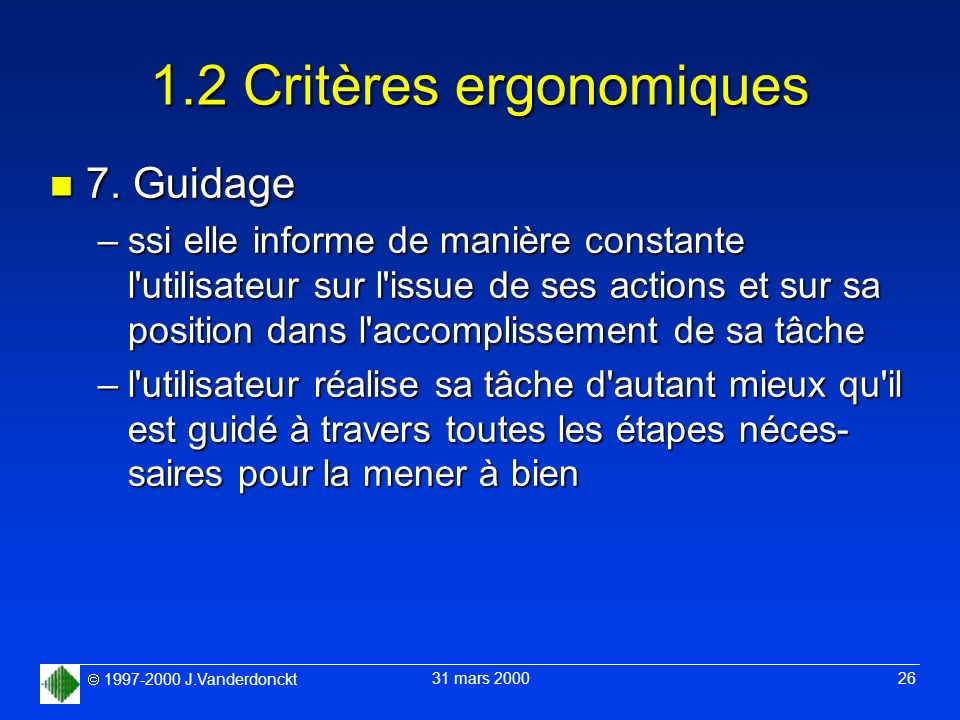 1.2 Critères ergonomiques