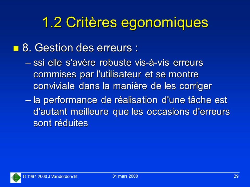 1.2 Critères egonomiques 8. Gestion des erreurs :