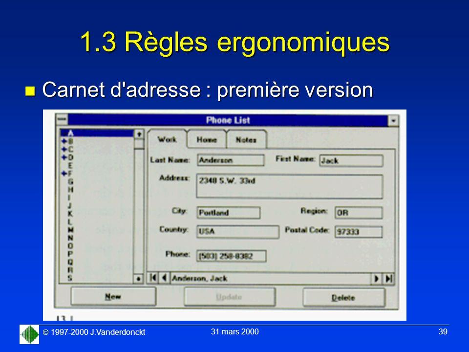 1.3 Règles ergonomiques Carnet d adresse : première version