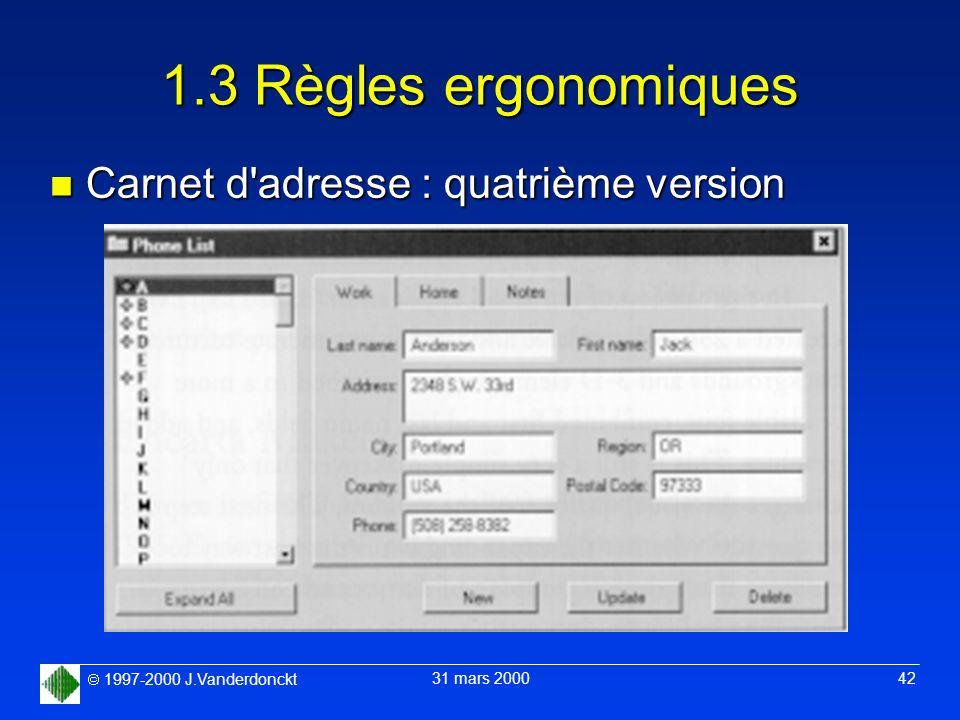 1.3 Règles ergonomiques Carnet d adresse : quatrième version