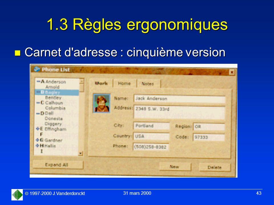 1.3 Règles ergonomiques Carnet d adresse : cinquième version