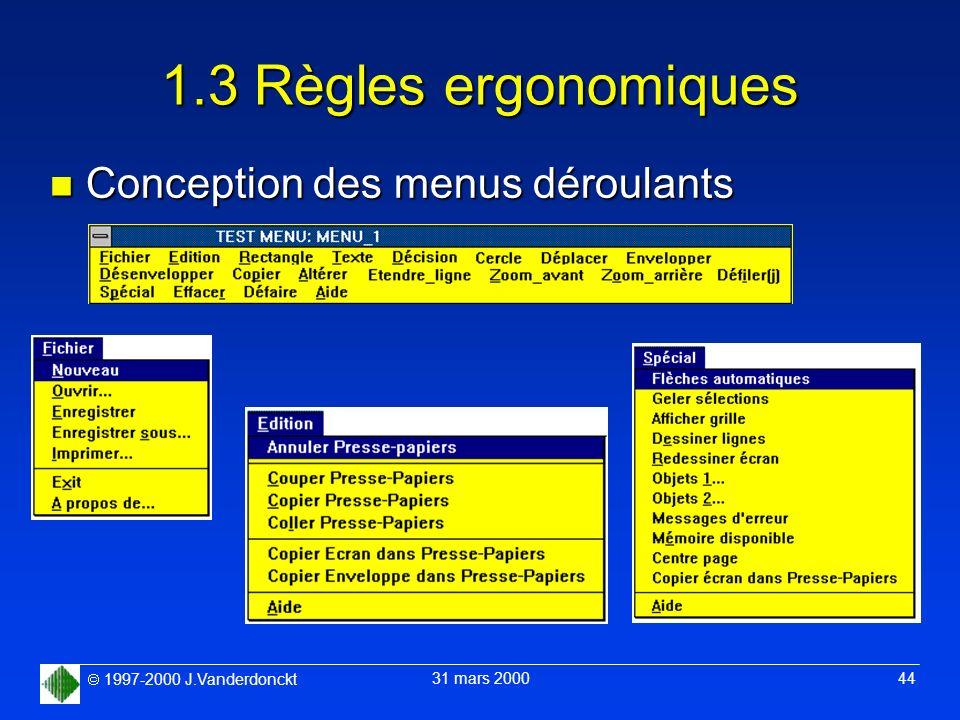 1.3 Règles ergonomiques Conception des menus déroulants
