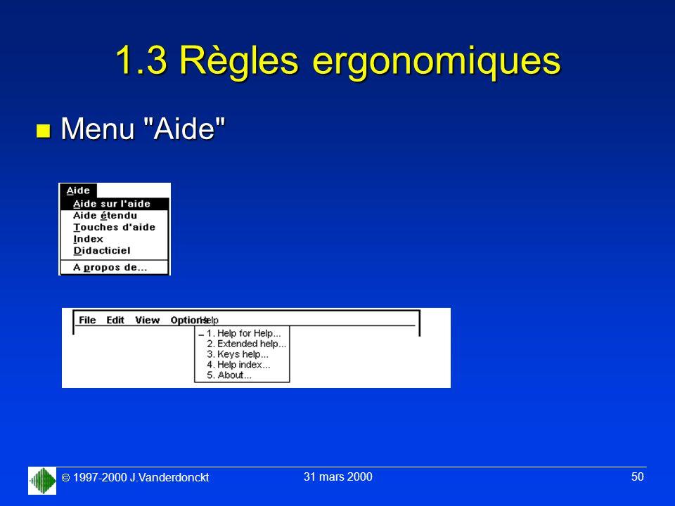 1.3 Règles ergonomiques Menu Aide