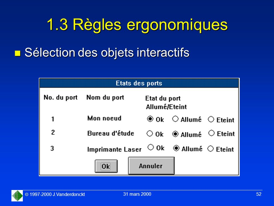 1.3 Règles ergonomiques Sélection des objets interactifs