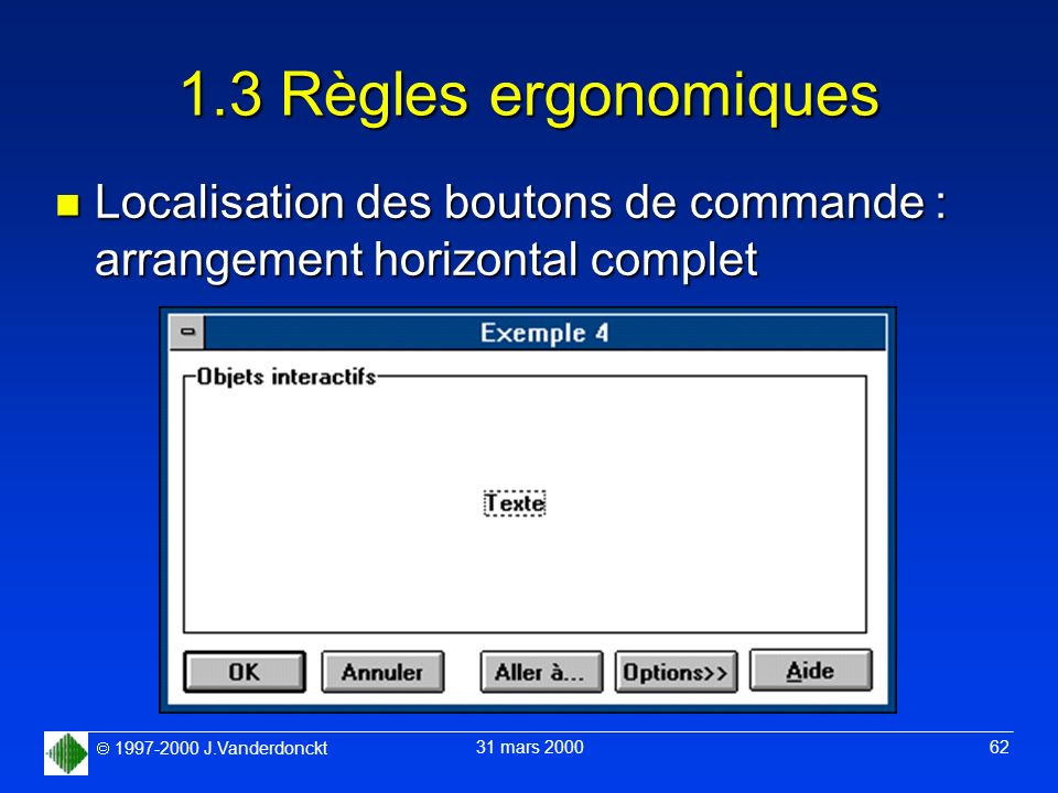 1.3 Règles ergonomiques Localisation des boutons de commande : arrangement horizontal complet