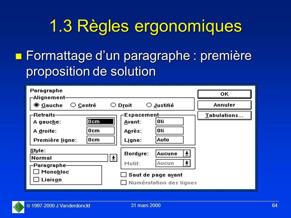 1.3 Règles ergonomiques Formattage d'un paragraphe : première proposition de solution