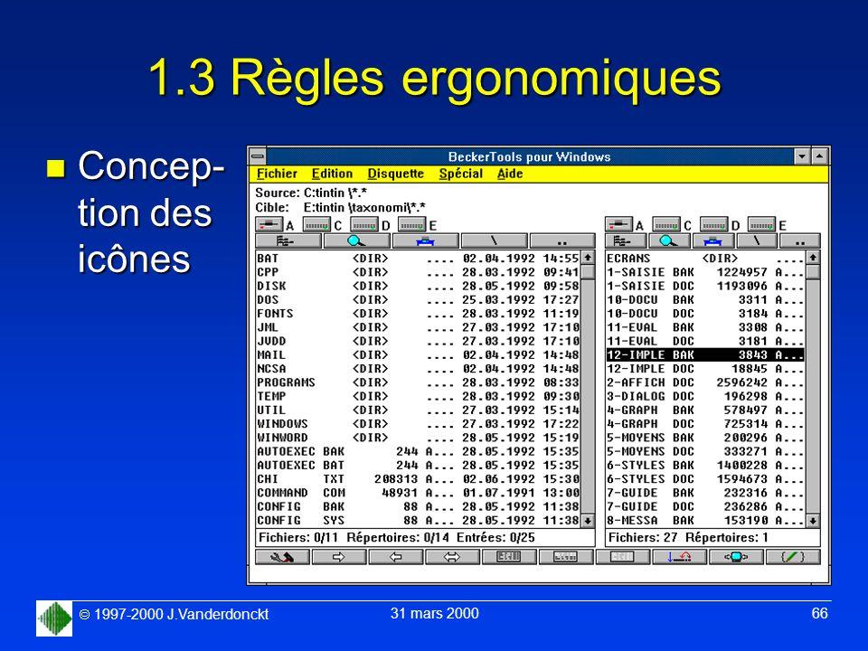 1.3 Règles ergonomiques Concep- tion des icônes