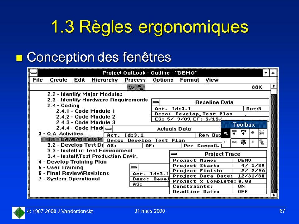 1.3 Règles ergonomiques Conception des fenêtres