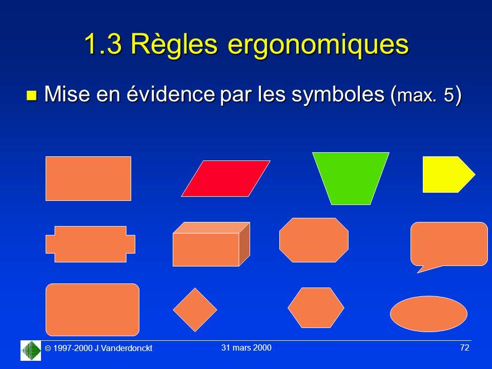 1.3 Règles ergonomiques Mise en évidence par les symboles (max. 5)