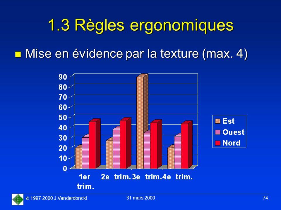 1.3 Règles ergonomiques Mise en évidence par la texture (max. 4)