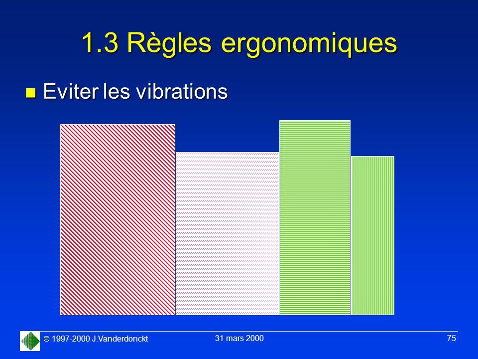1.3 Règles ergonomiques Eviter les vibrations
