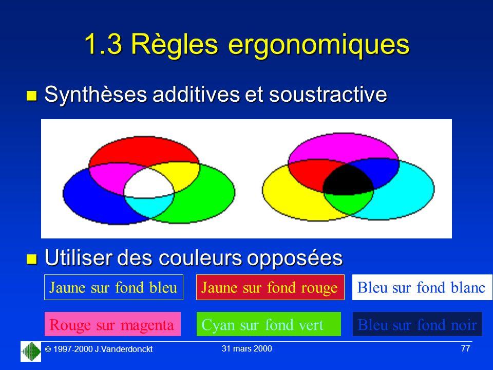 1.3 Règles ergonomiques Synthèses additives et soustractive