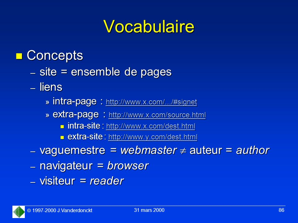 Vocabulaire Concepts site = ensemble de pages liens