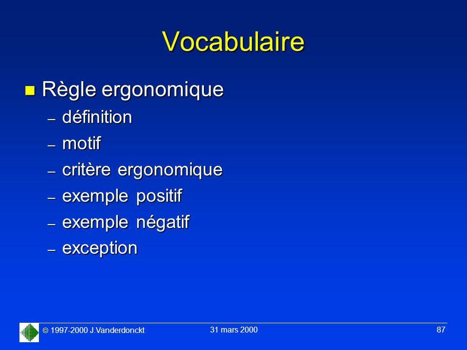 Vocabulaire Règle ergonomique définition motif critère ergonomique
