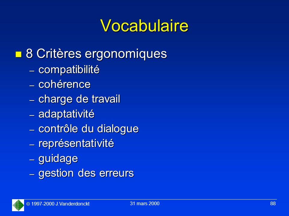Vocabulaire 8 Critères ergonomiques compatibilité cohérence