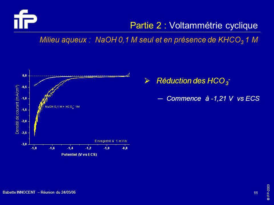 Partie 2 : Voltammétrie cyclique