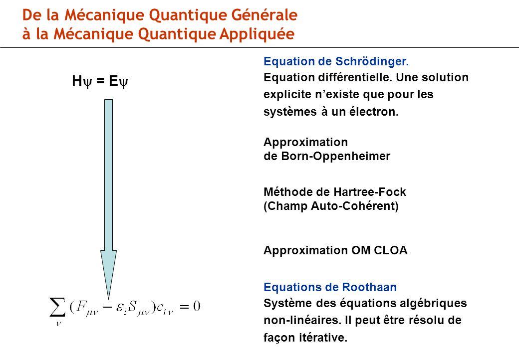 De la Mécanique Quantique Générale à la Mécanique Quantique Appliquée