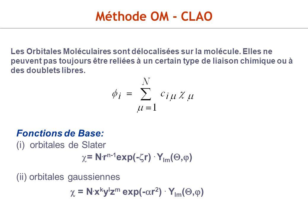 = N.rn-1exp(-r) . Ylm(,) c = N.xkylzm exp(-ar2) . Ylm(,)