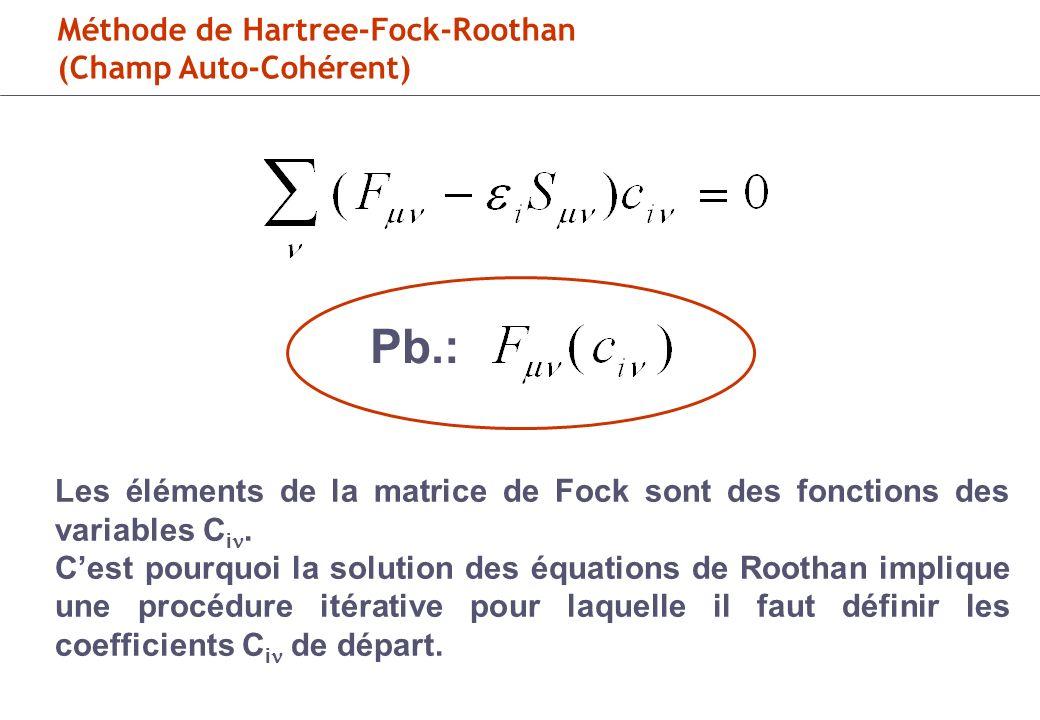 Pb.: Méthode de Hartree-Fock-Roothan (Champ Auto-Cohérent)