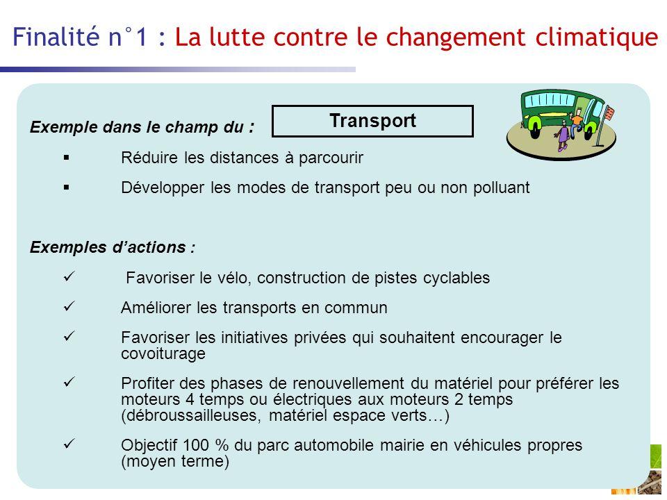 Finalité n°1 : La lutte contre le changement climatique