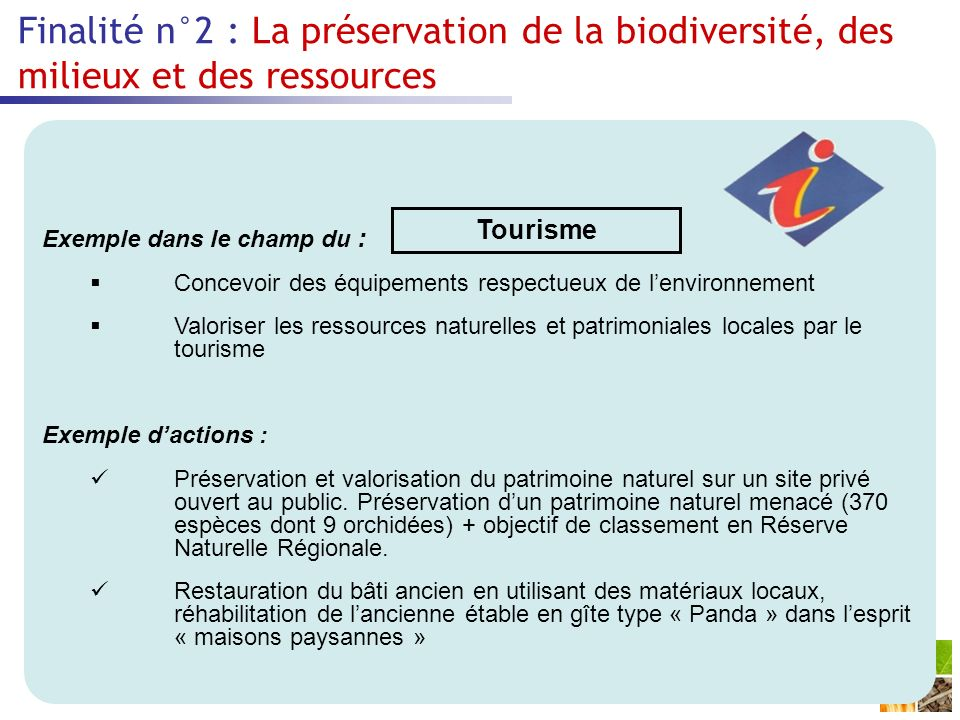 Finalité n°2 : La préservation de la biodiversité, des milieux et des ressources